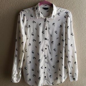 TOPSHOP Panda Button-Up Shirt